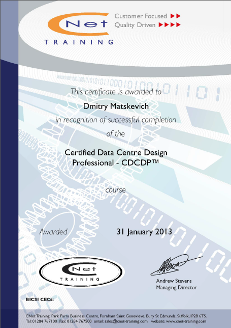 Certified Data Centre Design Professional