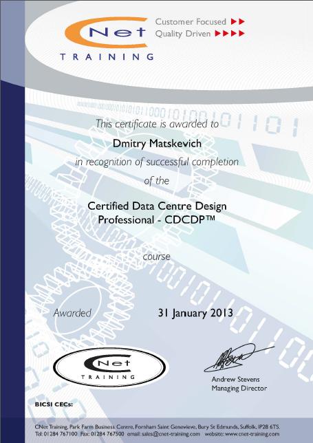 Certified Data Centre Design Professional