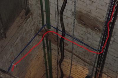 прокладка витой пары в лифтовой шахте