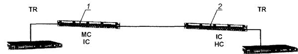 Рисунок 27 — Модель «постоянной линии» магистральной кабельной подсистемы (внешней или внутренней) с двумя точками коммутации