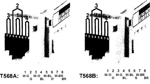 Рисунок 29 — Назначение контактов в схемах разводки T568A и T568B